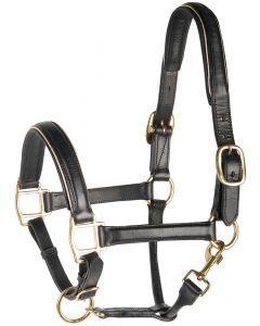 Harry's Horse Licol en cuir noir doublé or ou argent