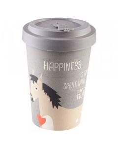 PFIFF Tasse à café en bambou `` HAPPINESS & HORSES ''